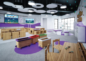 Image of Oasis International School's elementary classrooms, with bright colors, lots of light and movable and flexible desks and work areas to foster creativity.