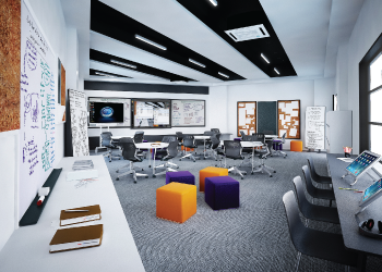 Image of Oasis International School's Middle School classrooms, with flexible learning spaces to help individualize instruction and support student growth.