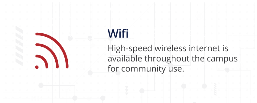 Image of Wifi symbol: Wifi, High-speed wireless internet is available throughout the campus for community use.