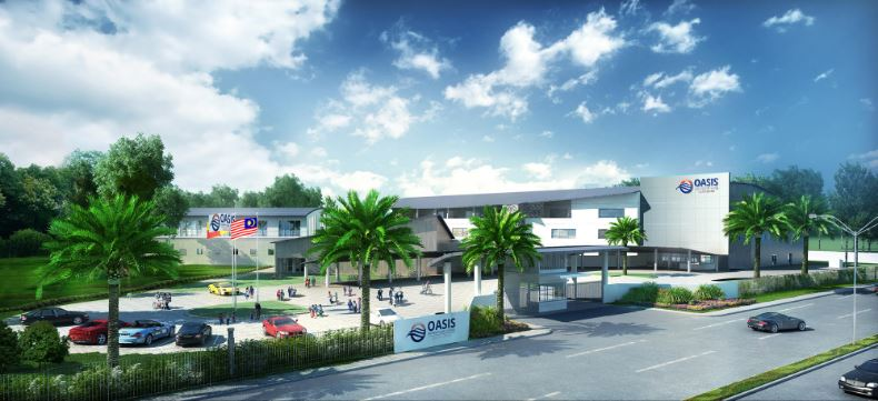 Rendering of the new Oasis International School campus in Bandar Rimbayu, outside of Kuala Lumpur Malaysia